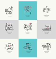 Set of icons oncology vector
