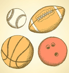 Sketch bowling ball in vintage style vector image vector image