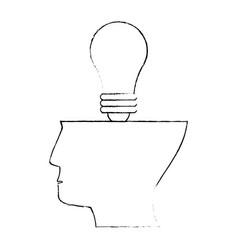 Sketch half head bulb idea concept vector