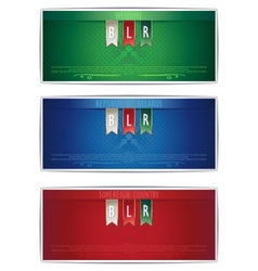 Three Belarus vertical banners with ribbons vector image
