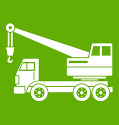 Truck crane icon green vector