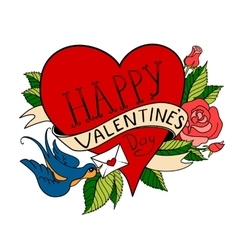 Valentines day card old school tattoo style vector