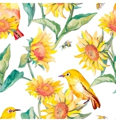 Watercolor patternwhite-eye bird and sunflower vector