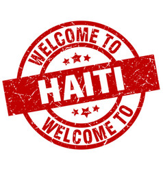 Welcome to haiti red stamp vector