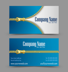 Zipper theme business card vector image vector image