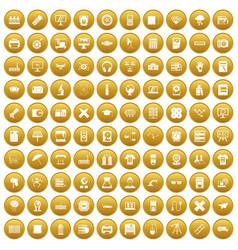 100 printer icons set gold vector