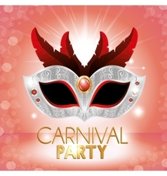 Carnival party cute mask red feathers pink bright vector