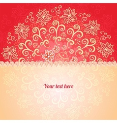Red floral ornament background vector