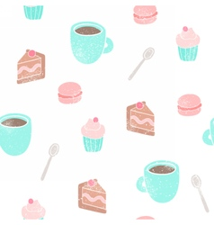 Tea and desserts background vector image