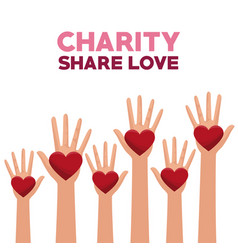 colorful set hands with heart in palms charity vector image