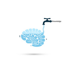 Brains icon and water tap symbol with knowledge vector