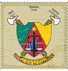 Coat of arms of Cameroon on the old postage stamp vector image