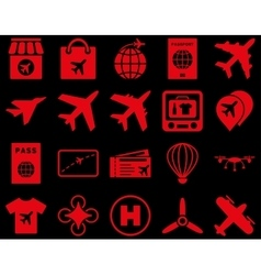 Airport icon set vector