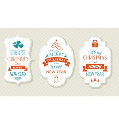 Set christmas new years labels vector