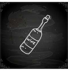 Hand drawn bottle of wine vector
