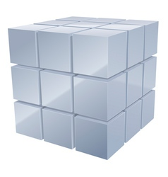Illustrarion of 3d metal cubes in silver vector