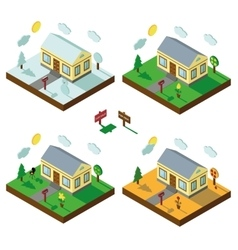 Isometric house set3d villagelandscape in vector