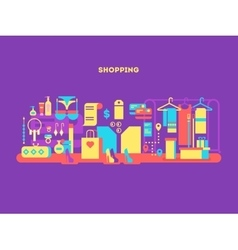 Shopping design flat concept vector image