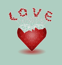 Low polygonal of red heart that growing to be love vector