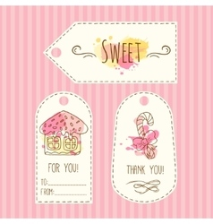 Tags with cookie  hand drawn vector