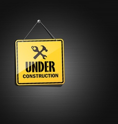 Under construction sign square hanging with chain vector