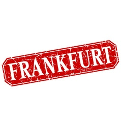 Frankfurt red square grunge retro style sign vector