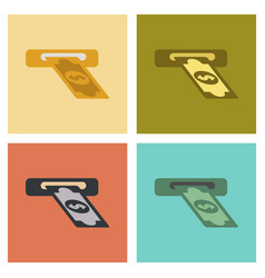 Assembly flat icons dollar money vector