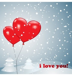Balloons heart with snow vector