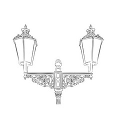 Baroque lamp isolated on the white vector