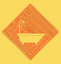 Bathtub sign red scribble icon obtained vector