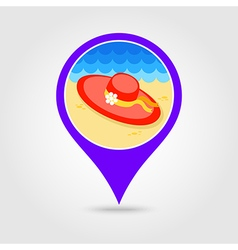 Beach hat pin map icon summer vacation vector