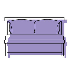 bed wooden with pillows purple watercolor vector image vector image