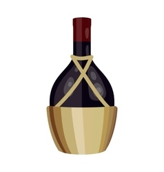 Bottle of wine icon in cartoon style isolated on vector image