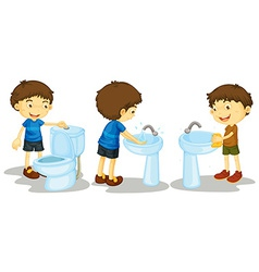 Boy and toilet vector image vector image