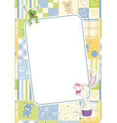 Boys childrens frame with rabbit and frog vector image vector image