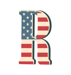 Capital 3d letter r with american flag texture vector