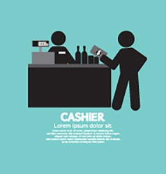 Cashier with customer graphic symbol vector