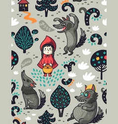 cute little girl and gray hungry wolf vector image