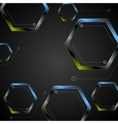 Dark green blue geometric hexagons background vector
