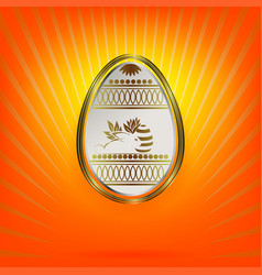 design with a white easter egg and a silhouette of vector image vector image