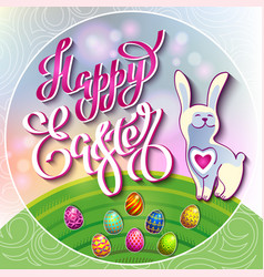 easter eggs and a rabbit on a green lawn with the vector image