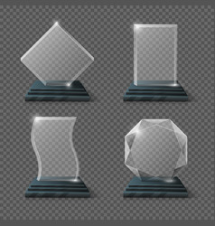 Empty glass trophy awards set vector image