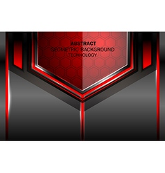 geometric tech red background vector image vector image
