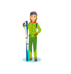 Girl in winter clothes of holding ski in hands vector