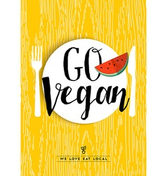 Go vegan restaurant menu poster design with fruit vector