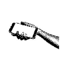 hand holding smartphone 8 bit minimalistic pixel vector image