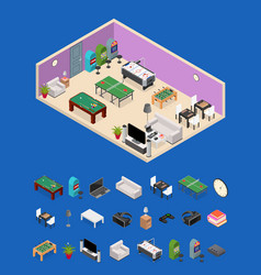 interior game room and parts isometric view vector image vector image