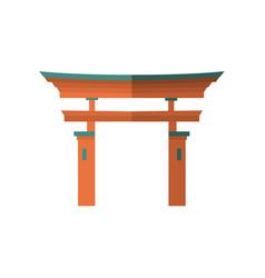 Japanese wooden torii gate national symbol vector
