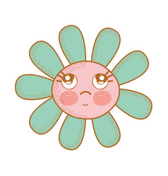 Kawaii flower thinking with cheeks and eyes vector