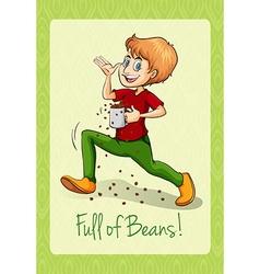 Man spilling the beans vector